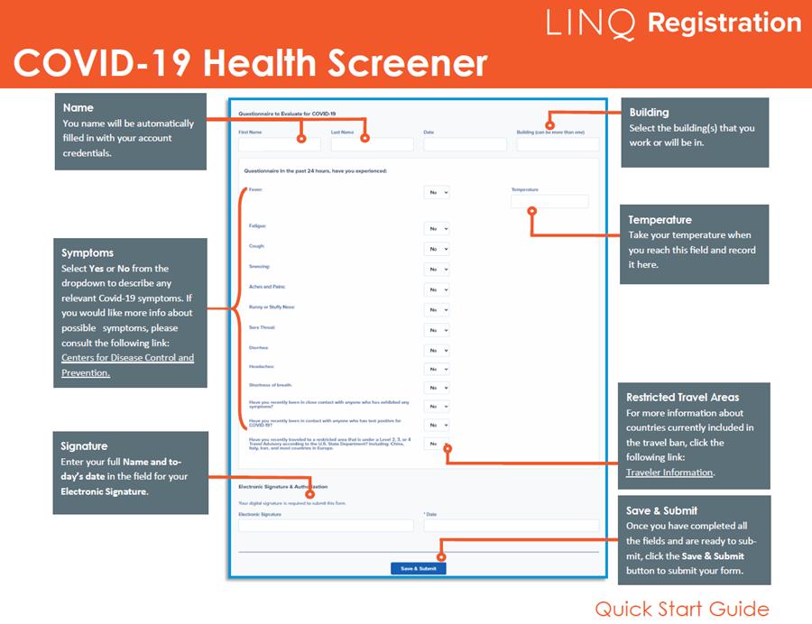 Covid 19 Health Screener Guide Click to access in PDF form